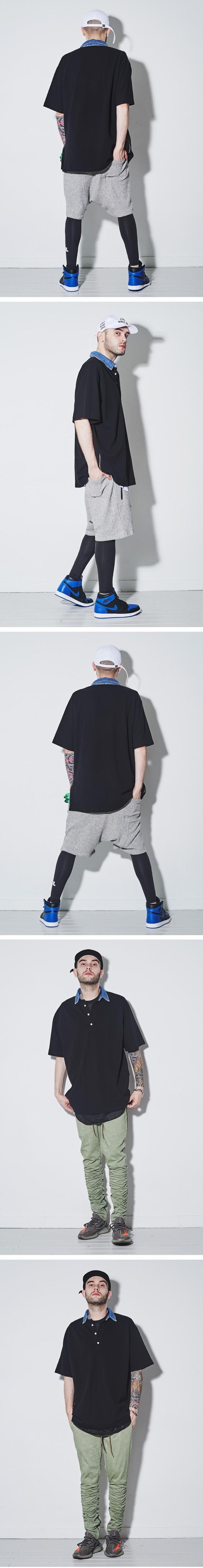 (단독가)라울 LAUL DENIM COLLAR PIQUE SHIRTS 라울 데님카라 피케셔츠 블랙