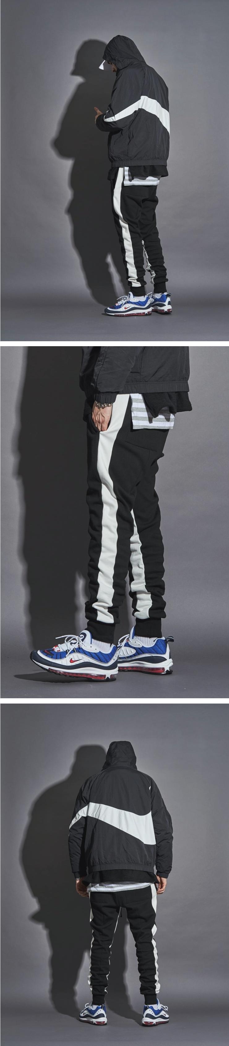 (단독가)[3차 재입고]라울 LAUL SIDE LINE JORGGER PANTS BLACK 라울 사이드라인 조거팬츠 밴드형 블랙