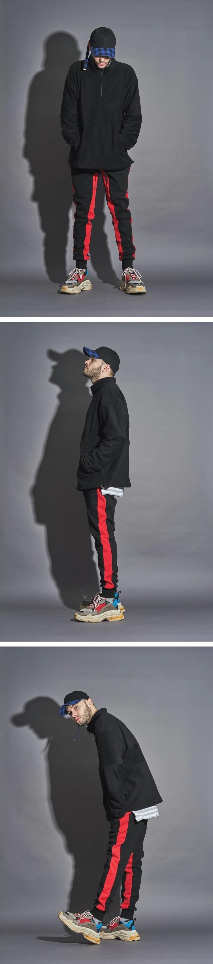 (단독가)라울 LAUL SIDE LINE JORGGER PANTS RED 라울 사이드라인 조거팬츠 밴드형 레드