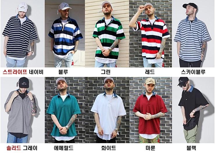 (단독가)라울 LAUL DENIM COLLAR PIQUE SHIRTS WHITE 라울 데님카라 피케셔츠 솔리드 화이트