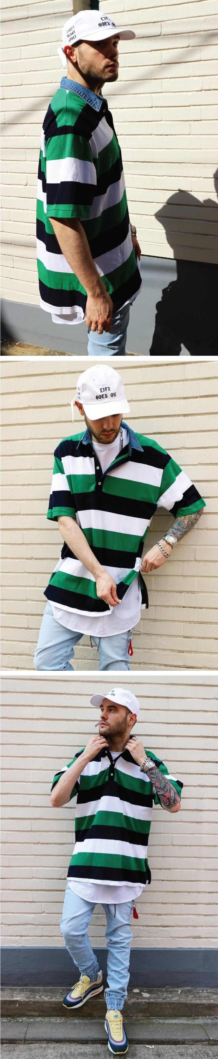 (단독가)라울 LAUL DENIM COLLAR PIQUE SHIRTS GREEN 라울 데님카라 피케셔츠 스트라이프 그린