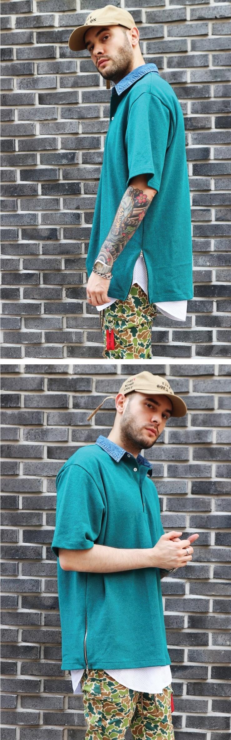 (단독가)라울 LAUL DENIM COLLAR PIQUE SHIRTS EMERALD 라울 데님카라 피케셔츠 솔리드 에메랄드
