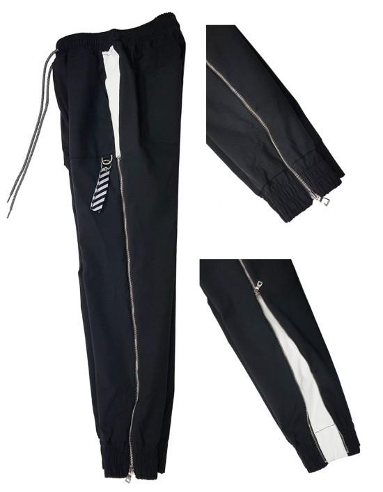LAUL ZIPPER SIDELINE JOGGER PANTS BLACK & WHITE 라울 지퍼 사이드라인 조거팬츠 블랙 & 화이트